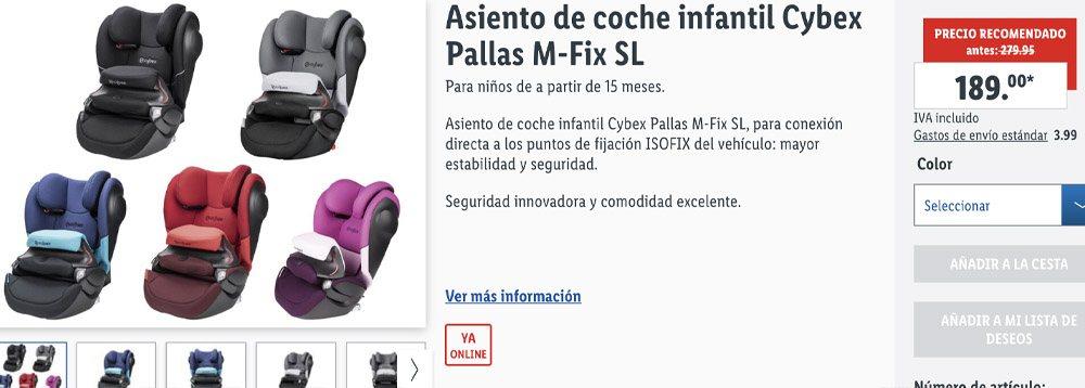 Asiento de coche infantil Cybex Pallas M Fix SL - Sillas CYBEX a la venta en Lidl