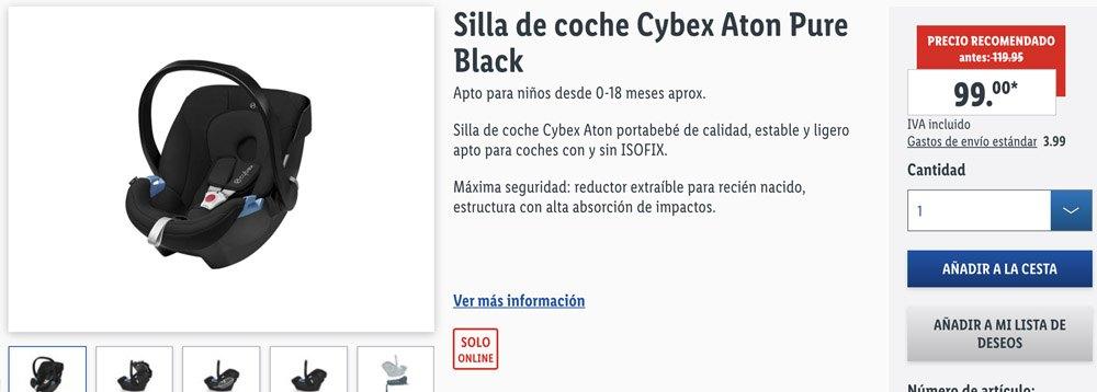 Silla de coche Cybex Aton - Sillas CYBEX a la venta en Lidl