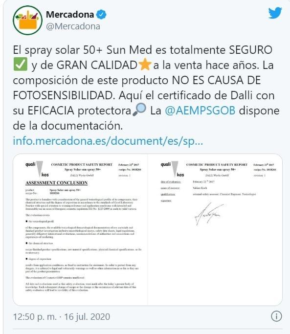 respuesta mercadona 1 - Atención! Problemas con la crema solar de Mercadona