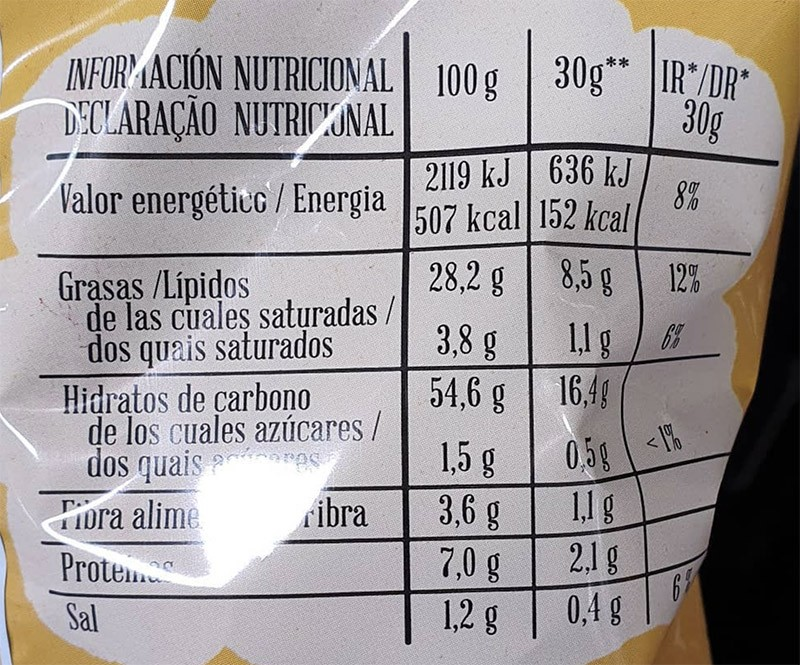 valor nutricional - Exito de las nuevas patatas de queso de Mercadona
