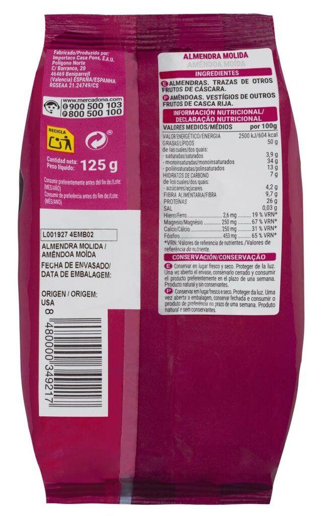 almendra molida hacendado valor nutricional 639x1024 - Almendra molida Mercadona