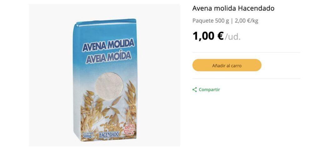 precio avena molida hacendado 1024x473 - Harina de avena Mercadona