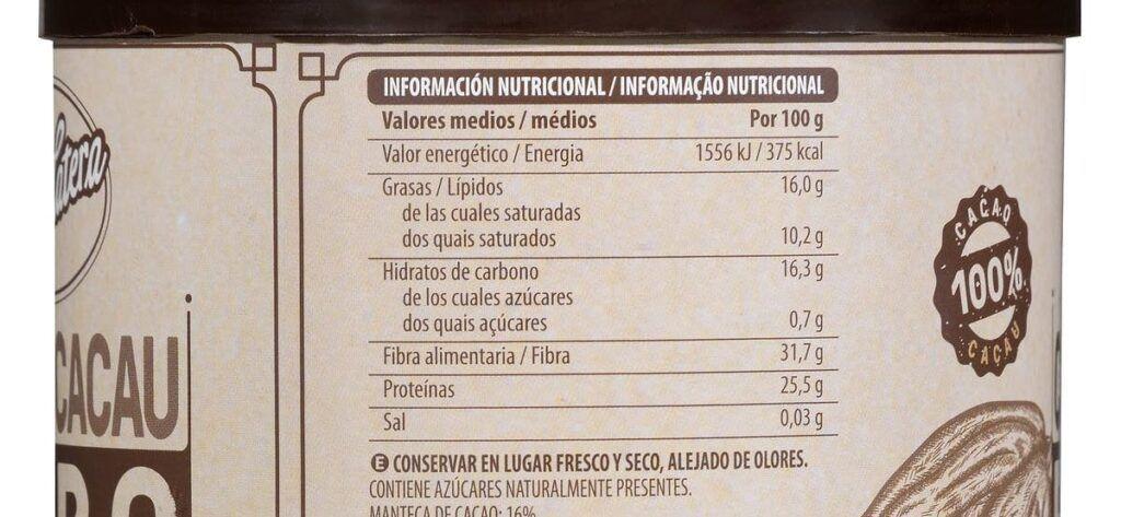 valor nutricional cacao mercadona 1024x473 - Cacao puro Mercadona