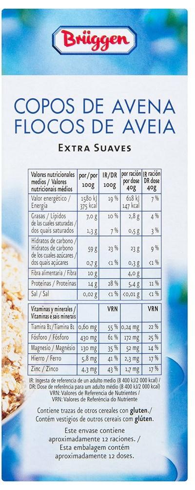 valor nutricional copos avena - Copos de avena Mercadona